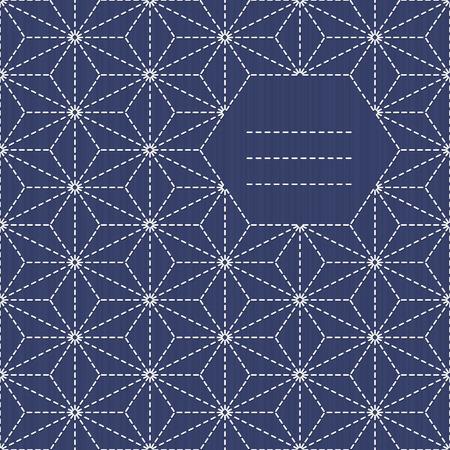 Ornement de broderie traditionnelle japonaise avec des feuilles et lieu pour votre texte. cadre de texte. Sashiko. motif Dispersés de chanvre feuille (tobi asa-no-ha). Résumé toile de fond. Needlework texture. Vecteur. Peut être utilisé comme pattern. Vecteurs