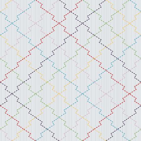 plain stitch: Colorful Sashiko motif - pine bark (Matsukawa-Bishi). Traditional Japanese Embroidery. Abstract needlework texture. Seamless vector pattern.  For decoration or printing on fabric. Pattern fills.