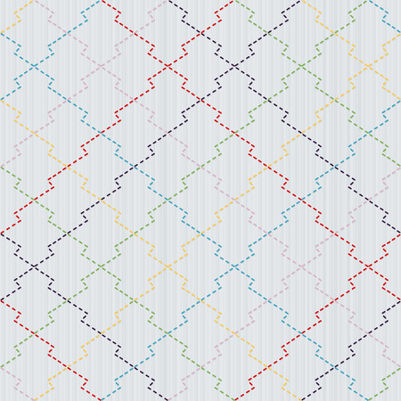 Colorful Sashiko motif - pine bark (Matsukawa-Bishi). Traditional Japanese Embroidery. Abstract needlework texture. Seamless vector pattern.  For decoration or printing on fabric. Pattern fills.