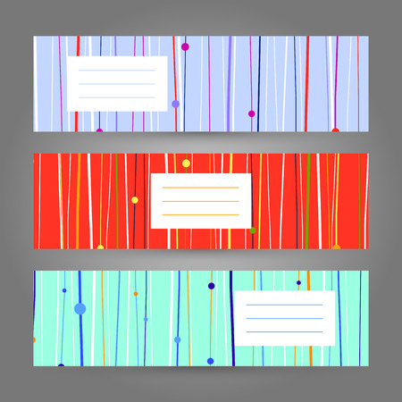 discrete: Set of Horizontal Colorful Banners. Abstract Geometric ornaments.