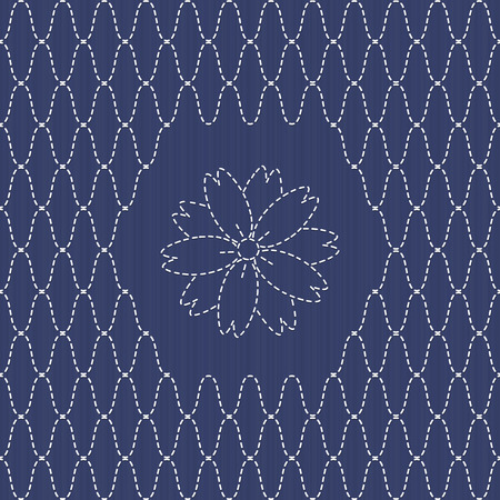 embroidery flower: Traditional Japanese Embroidery Ornament with sakura flower.  Sashiko fishing net motif.  Abstract backdrop. Needlework texture. Vector. Can be used as seamless pattern.