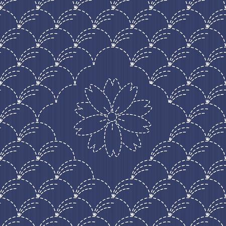桜の花と伝統的な日本刺繍飾り。 刺し子。風吹き草モチーフ (野分)。抽象的な背景。針仕事のテクスチャです。ベクトル。シームレスなパターンと