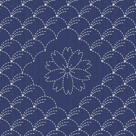 Traditional Japanese Embroidery Ornament with sakura flower. Sashiko. Wind blown grass motif (Nowaki). Abstract backdrop. Needlework texture. Vector. Can be used as seamless pattern.