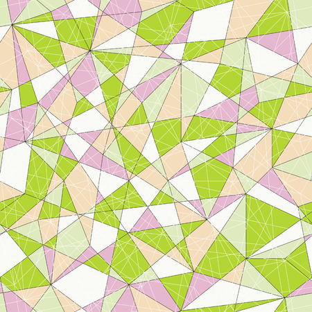 unstable: Abstract mosaic pattern with green and pink triangles. Seamless vector. Stylized delta texture. Pale colored puzzle background for decoration or backdrop. Unstable endless composition. Illustration