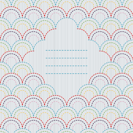 fish with scales: Traditional Japanese Embroidery Ornament with stylized fish scales and text frame. Sashiko motif. Arcs and half circles. Abstract backdrop. Needlework texture. Vector. Can be used as seamless pattern. Illustration