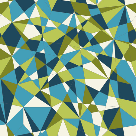 delta: Abstract mosaic pattern with green and blue triangles. Seamless vector. Stylized delta texture. Bright colored puzzle background for decoration or backdrop. Unstable endless composition.