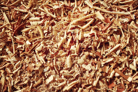 filings: Wood sawdust for background or texture. Aged photo. Pile of sawdust macro. Closeup image of wooden filings.