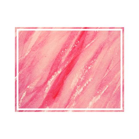aquarelle: Watercolor postcard. Aquarelle frame. Copy space. Graphic decorative background. Grunge backdrop. Pink watercolor design element.