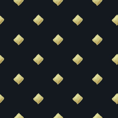 Seamless pattern with gold rhombs on black background. Heart background. Golden paint. Seamless pattern. Use for wallpaper, pattern fills, web page background.