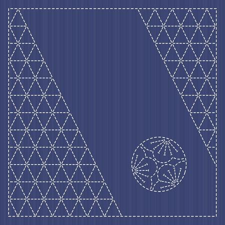 日本では、カードを飾り。テキスト フレーム。梅の花をモチーフにした刺し子 serviette。背景をステッチします。アンティーク日本手芸品。シンプル