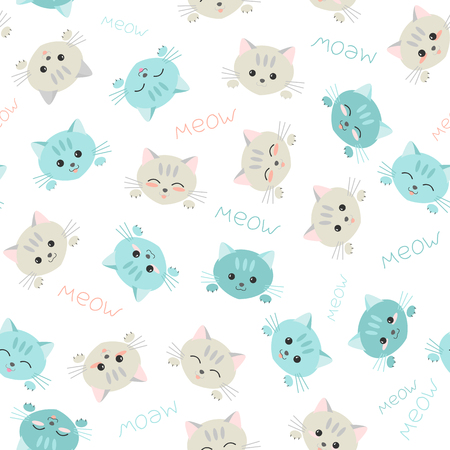 manga style: Seamless kitten background. Japanese manga style. Illustration with cute cats.