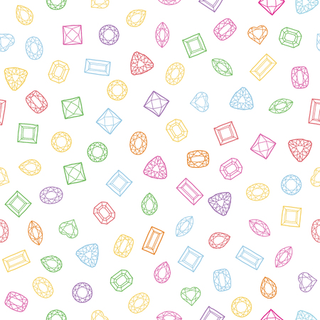 diamond cut: Diamond cut shapes. Seamless pattern. Heart, drop, emerald, oval, round and other diamond cut shapes. Abstract hand drawn pattern with gemstones. White background. Colorful texture.