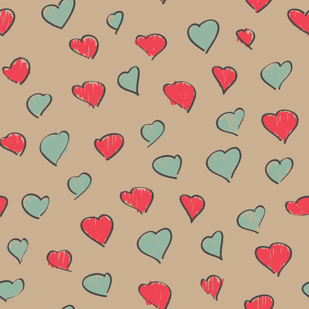 Red and grey heart background. Dingy colors. Seamless pattern. Romantic texture. Hand drawn. Love and feelings Backdrop. Valentines day. For wallpaper, web page, surface textures.