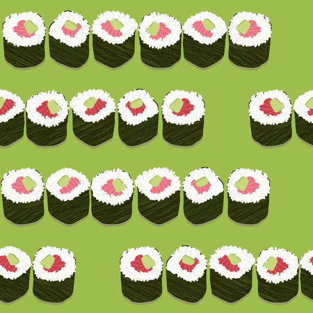 Sushi roll sets with salmon and avocado filling. Illustration. Seamless pattern. Asian texture. Japanese cuisine template. Pattern fills. For decoration or printing on fabric.  イラスト・ベクター素材