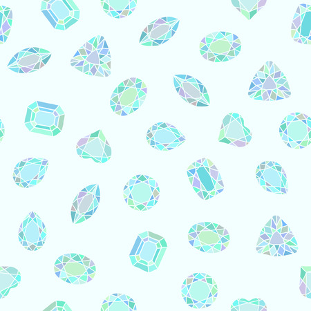 brink: Diamond cut shapes. Blue and green. Seamless pattern. Heart, drop, emerald, oval, round shapes. Abstract hand drawn pattern with gemstones. Light background. For decoration or printing on fabric. Illustration