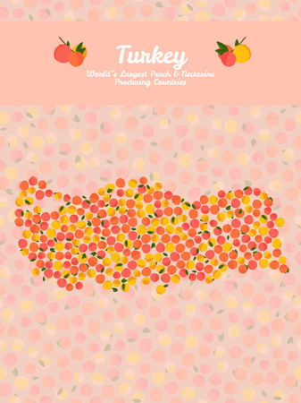nectarine: Turkey map poster or card. Vegetarian postcard. Map of Turkey made out of pink nectarines. Illustration. Series: Worlds Largest peach and nectarine Producing Countries. Can be used as seamless pattern. Illustration