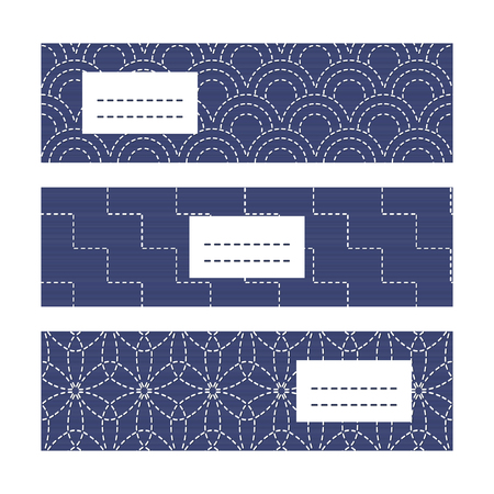 fancywork: Banner Set with Japanese Embroidery Ornaments. Geometric sashiko template with copy space for text. Japanese quilting cards. Text frame. Japanese Antique fancywork theme.