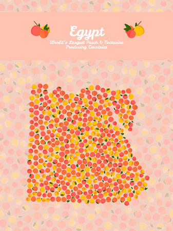 nectarine: Egypt map poster or card. Vegetarian postcard. Map of Egypt made out of pink nectarines. Illustration. Series: Worlds Largest peach and nectarine Producing Countries. Can be used as seamless pattern.