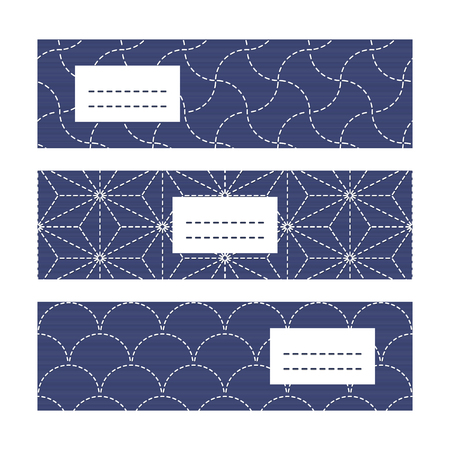 space for text: Horizontal Banners. Japanese Embroidery motifs. Abstract sashiko background with copy space for text. Japanese quilting cards. Text frame. Japanese Antique fancywork theme.