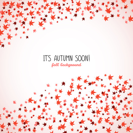 momiji: Wavy band made from red maple leaves. Fall is coming. Copy space. Background of autumn leaves. Momiji. Frame for text. Autumn concept. Vector illustration.