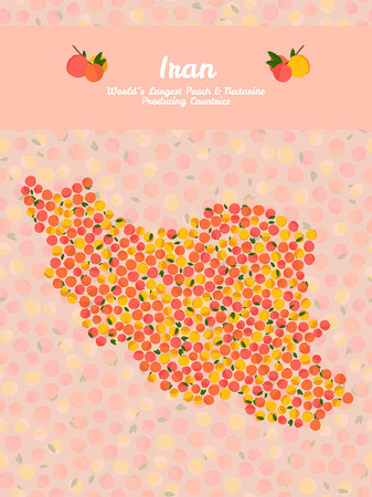 nectarine: Iran map poster or card. Vegetarian postcard. Map of Iran made out of pink nectarines. Illustration. Series: Worlds Largest peach and nectarine Producing Countries. Can be used as seamless pattern.