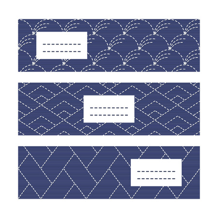 fancywork: Horizontal Banners. Japanese Embroidery motifs. Classic sashiko motif with copy space for text. Japanese quilting cards. Text frame. Japanese Antique fancywork theme.