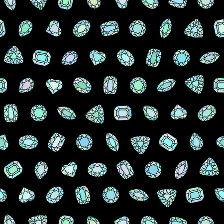 adamant: Diamond cut shapes. Seamless pattern. Heart, drop, emerald, oval, round shapes. Abstract hand drawn pattern with gemstones. Black background. Pattern fills. For decoration or printing on fabric.