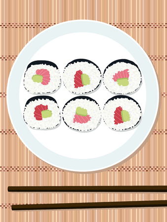 bamboo mat: Sushi roll set with salmon and avocado filling on the round plate. Bamboo mat. Makizushi. Top view. Illustration. Japanese cuisine template. Asian food. Chopsticks.