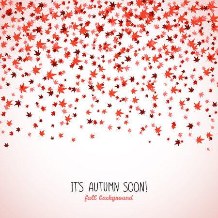 Text frame made from red maple leaves. Fall is coming. Copy space. Background of autumn leaves. Momiji. Frame for text. Autumn concept. Illustration