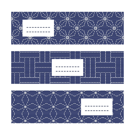 fancywork: Banner Set with Japanese Embroidery Ornaments. Decorative sashiko frames with copy space for text. Japanese quilting cards. Text frame. Japanese Antique fancywork theme.