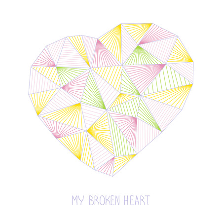 textile care: My broken heart illustration. T-shirt concept. Valentines Day background. Geometric heart. Abstract heart made of triangles. Outline. For printing on fabric.