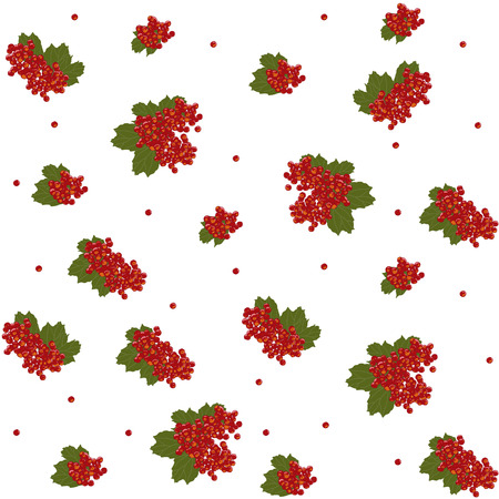 guelder rose: Seamless pattern. Guelder rose berries. Viburnum. Traditional fruit background. Sour berries. Can be used for wallpapers, pattern fills, web page backgrounds, surface textures. Illustration