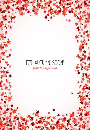 赤のカエデ材垂直のフレームを残します。領域をコピーします。秋の紅葉背景。テキストのフレーム。もみじ。秋のコンセプトです。  イラスト・ベクター素材