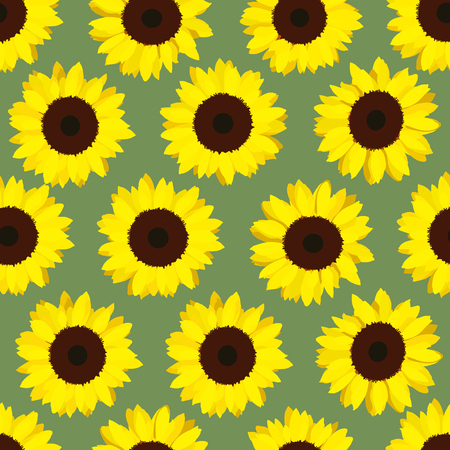 harvest time: Colorful yellow sunflowers. Seamless pattern. Floral background. End of summer. Vegetarian and vegan product. harvest time. For wallpaper, decoration or printing on fabric.