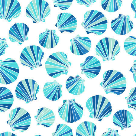 Round blue seashells. Seamless pattern. Stylized texture. Abstract pattern. Endless backdrop. Ocean life. For wallpaper, pattern fills, webpage background, surface textures.