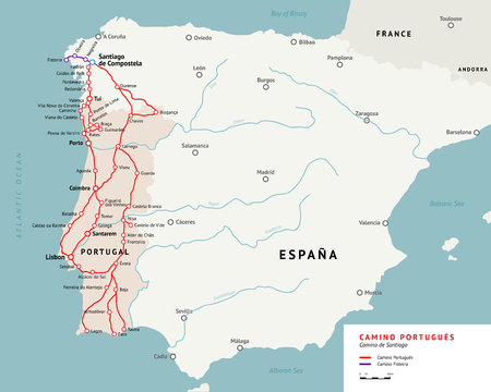 pilgrimage: Ancient pilgrimage path from south of Portugal to the Santiago de Compostella. Illustration