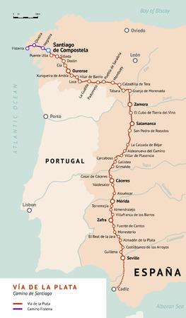 santiago: V?a de la Plata map. The Silver route. Camino De Santiago or The Way of St.James in Spain. Ancient pilgrimage path from south of Spain to the Santiago de Compostella. Illustration