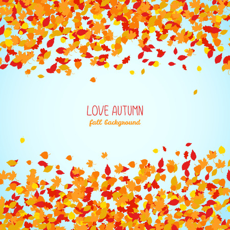 Love Autumn. Fall background with falling leaves. Colorful foliage card with blue sky. Autumn background with copy space. Colorful foliage card. Can be used as poster.