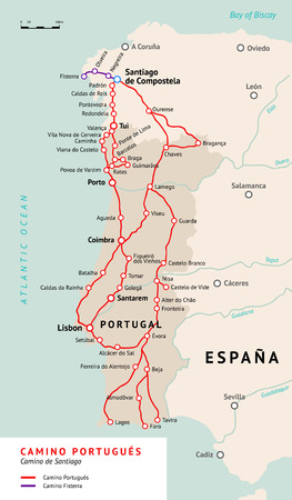 santiago: Ancient pilgrimage path from south of Portugal to the Santiago de Compostella. Illustration