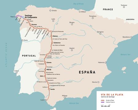 pilgrimage: V?a de la Plata map. The Silver route. Camino De Santiago or The Way of St.James in Spain. Ancient pilgrimage path from south of Spain to the Santiago de Compostella. Illustration