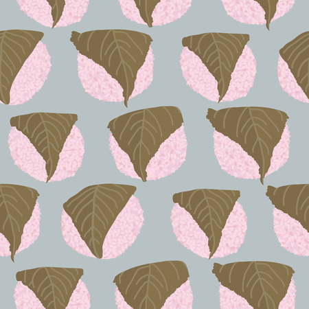 Sakura Mochi background. Seamless pattern. Rice balls wrapped in a salty pickled cherry leafs. Asian cuisine.Dessert illustration. Traditional japanese sweets. Hinamatsuri (Girls Day) dish. 矢量图像