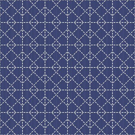plain stitch: Japanese sashiko motif with rhombs. Traditional Japanese Embroidery Ornament. Seamless pattern. Abstract geometric backdrop. For decoration or printing on fabric. Monochrome. Illustration