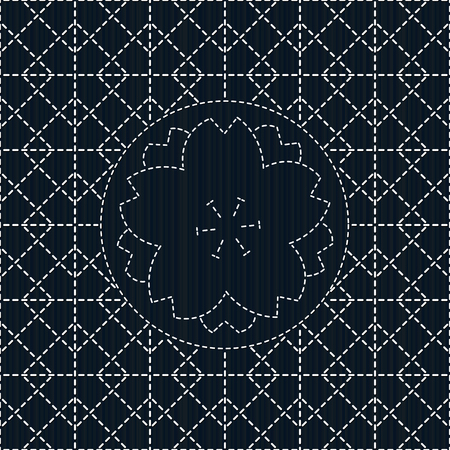 Sashiko with rhombs and sakura flower. Can be used as seamless pattern. Abstract backdrop. Traditional Japanese Embroidery Ornament. Endless background.