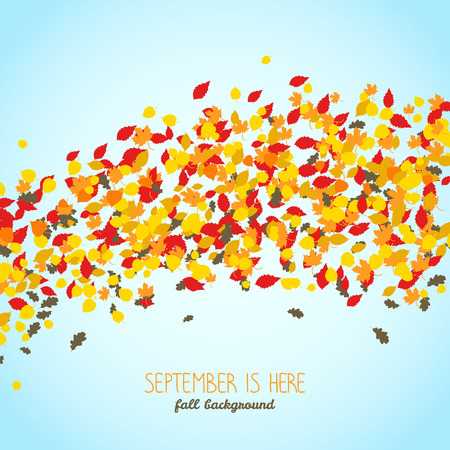 September is Here. Wavy background made of falling leaves. Warm fall background with copy space. Text frame. Colorful foliage card in warm colors. Can be used as postcard or banner. Illustration