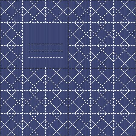 テキスト枠の rhombs 証明されます。刺し子をモチーフ。シームレスなパターンとして使用できます。テキストのためのスペースにコピーします。抽象