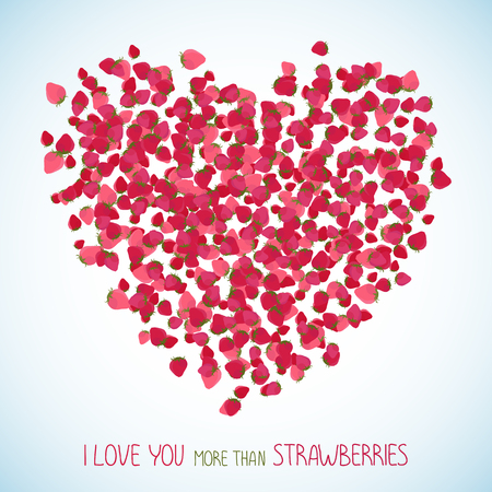 deep pink: I love you more than strawberries. Heart symbol made of red berries. Sweet Valentines background with copy space. Colorful berry postcard in deep pink colors. Can be used as poster Illustration