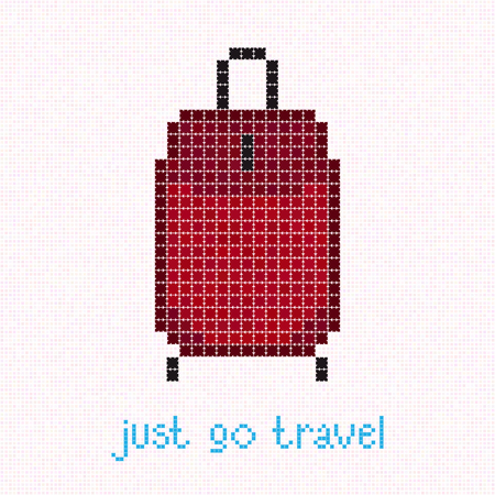 wheeled: Just go Travel! Pixel art banner with red suitcase. Rolling Luggage. Crimson wheeled bag illustration. Warm colored travel bag for Old lady.