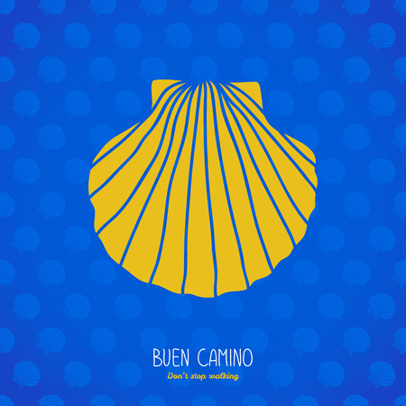 Buen Camino! Don't stop walking. Postcard or banner. Yellow scallop shell on the blue background. Pilgrim's navigation sign. Symbol of the Camino de Santiago in Spain.