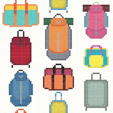 sleeping bags: Various Bag types. Pixel art. Seamless pattern. Hipster handbags, women purses, casual bags, trekking rucksacks with sleeping pads. Travel equipment and accessories.