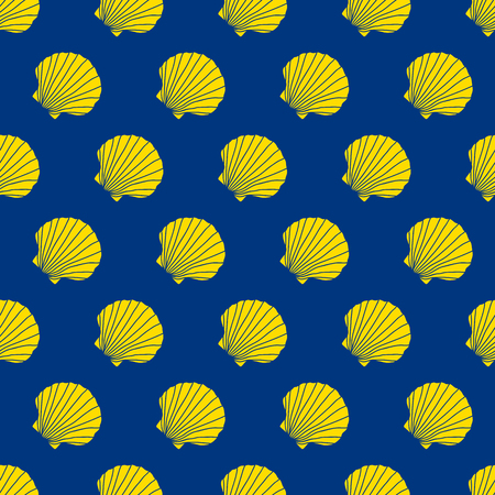 Yellow scallop shells on the blue background. Camino de Santiago sign. Seamless pattern. Pilgrims navigation sign. Symbol of the Camino de Santiago in Spain.
